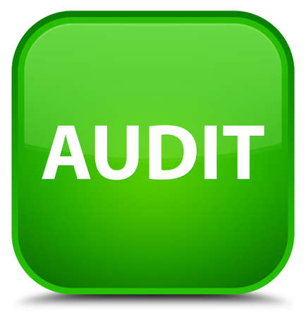 Audit isolated on special green square button abstract illustration