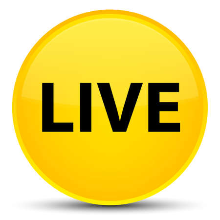Live isolated on special yellow round button abstract illustration