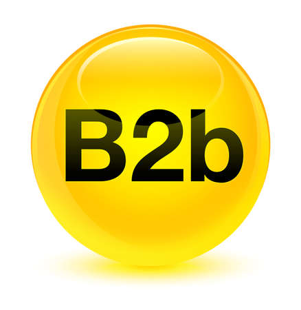 b2b: B2b isolated on glassy yellow round button abstract illustration