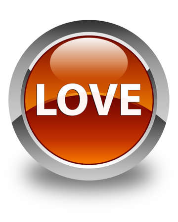 Love isolated on glossy brown round button abstract illustration Stock Photo