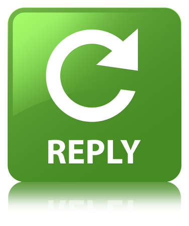 Reply (rotate arrow icon) isolated on soft green square button reflected abstract illustration