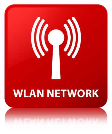 Réseau WLAN isolé sur un bouton carré rouge reflète illustration abstraite Banque d'images - 89577197