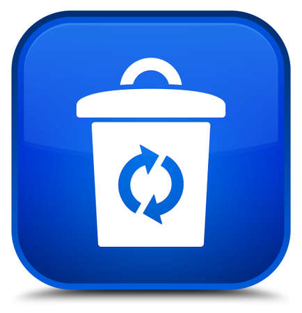Trash icon isolated on special blue square button abstract illustration Stock Photo