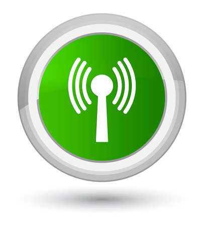 antennas: Wlan network icon isolated on prime green round button abstract illustration