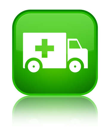 lorries: Ambulance icon isolated on special green square button reflected abstract illustration
