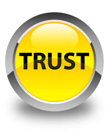 Trust isolated on glossy yellow round button abstract illustration Stock Photo