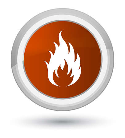 Fire icon isolated on prime brown round button abstract illustration Stock Photo