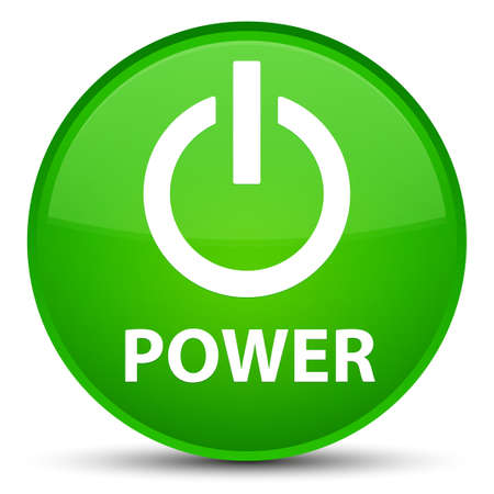 Power isolated on special green round button abstract illustration
