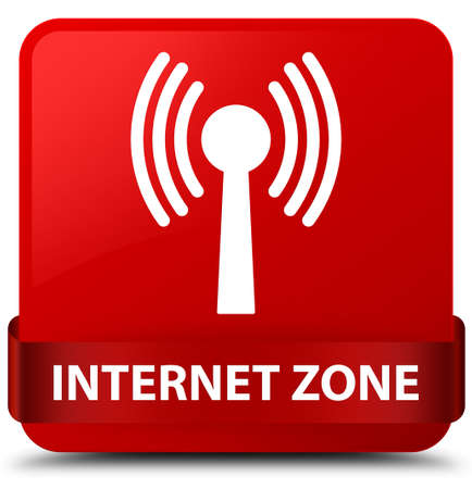 Internet zone (wlan network) isolated on red square button with red ribbon in middle abstract illustration Stock Photo