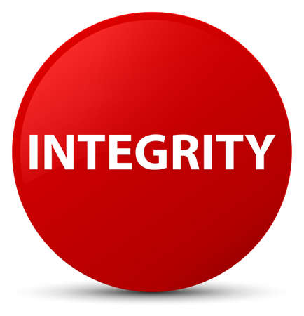 Integrity isolated on red round button abstract illustration