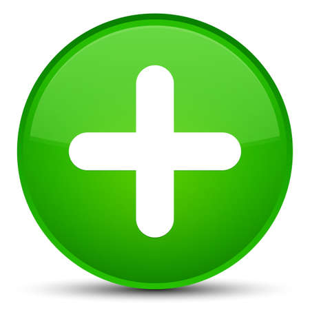 green cross: Plus icon isolated on special green round button abstract illustration Stock Photo
