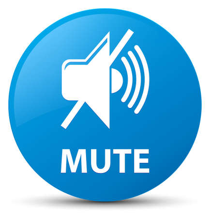 Mute isolated on cyan blue round button abstract illustration Stock Photo