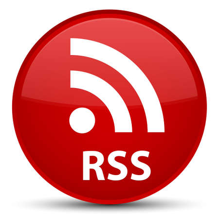 RSS isolated on special red round button abstract illustration