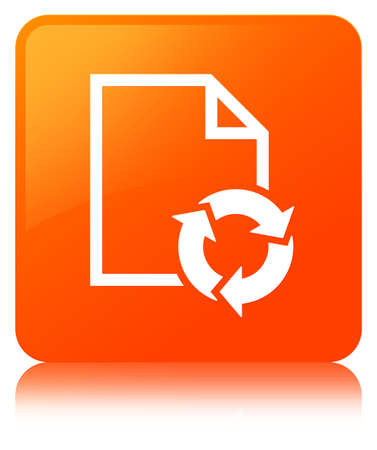 Document process icon isolated on orange square button reflected abstract illustration