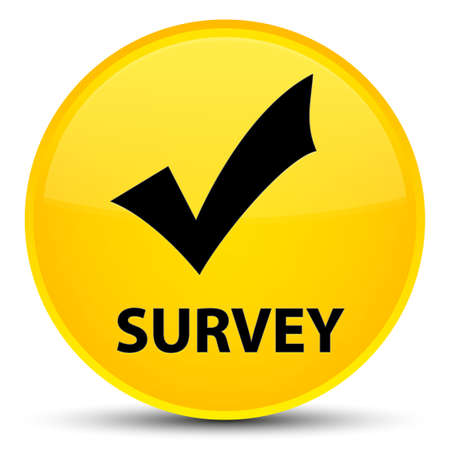 inquiry: Survey (validate icon) isolated on special yellow round button abstract illustration
