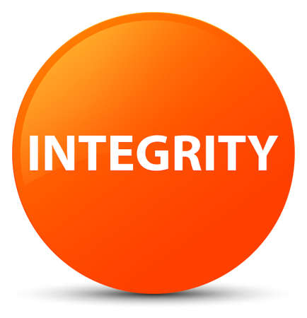Integrity isolated on orange round button abstract illustration Stock Photo