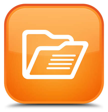 directory: Folder icon isolated on special orange square button abstract illustration