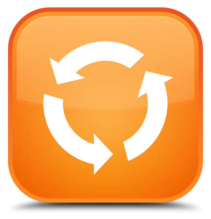 improving: Refresh icon isolated on special orange square button abstract illustration