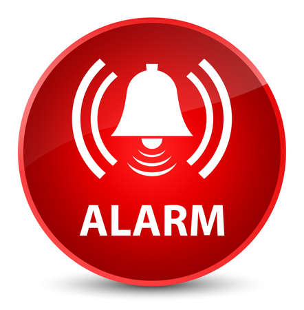 Alarm (bell icon) isolated on elegant red round button abstract illustration