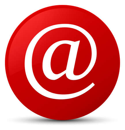 Email address icon isolated on red round button abstract illustration