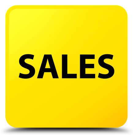 Sales isolated on yellow square button abstract illustration Stock Photo