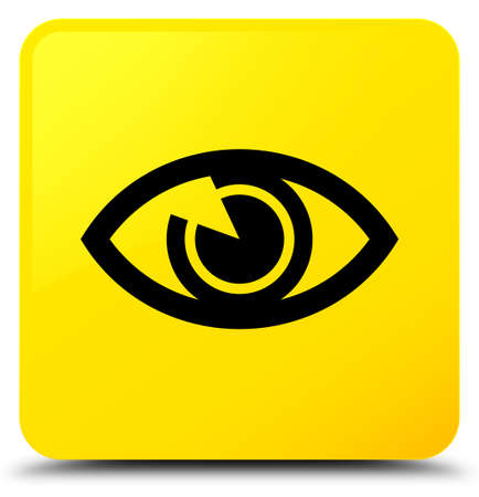 Eye icon isolated on yellow square button abstract illustration