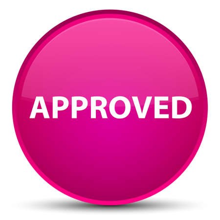 Approved isolated on special pink round button abstract illustration Stock Photo