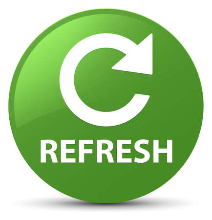 Refresh (rotate arrow icon) isolated on soft green round button abstract illustration