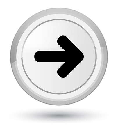 Next arrow icon isolated on prime white round button abstract illustration