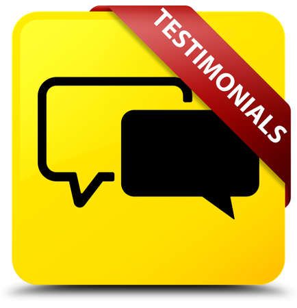 testimonials: Testimonials isolated on yellow square button with red ribbon in corner abstract illustration