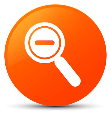 Zoom out icon isolated on orange round button abstract illustration