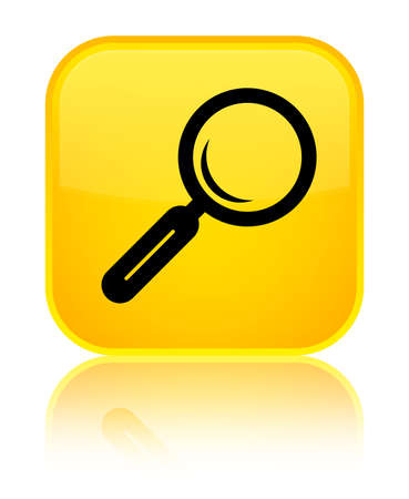 Magnifying glass icon isolated on special yellow square button reflected abstract illustration Stock Photo