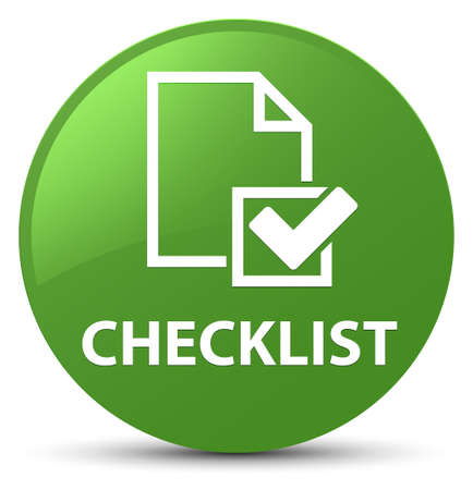 Checklist isolated on soft green round button abstract illustration