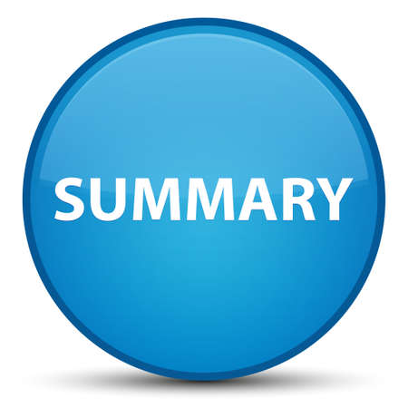 Summary isolated on special cyan blue round button abstract illustration Stok Fotoğraf