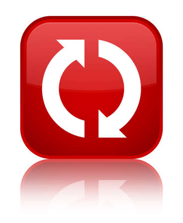 Update icon isolated on special red square button reflected abstract illustration