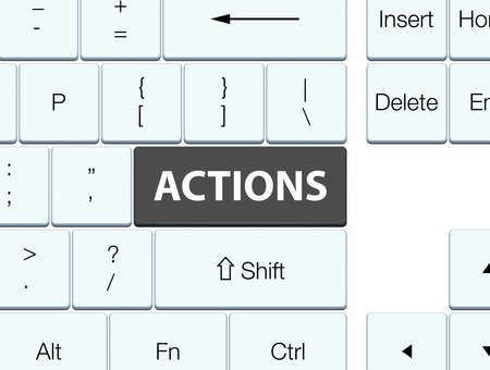 Actions isolated on black keyboard button abstract illustration