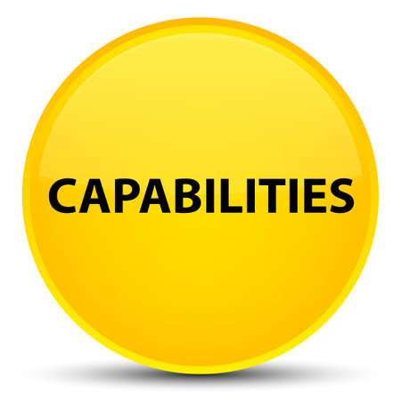 Capabilities isolated on special yellow round button abstract illustration