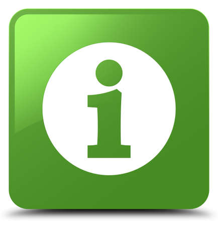 Info icon isolated on soft green square button abstract illustration