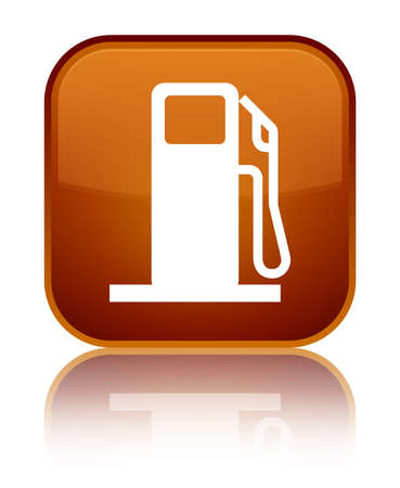 Fuel dispenser icon isolated on special brown square button reflected abstract illustration