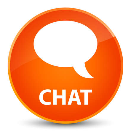 Chat isolated on elegant orange round button abstract illustration Stock Photo