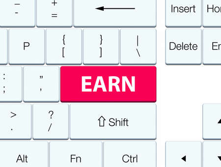 Earn isolated on pink keyboard button abstract illustration 版權商用圖片