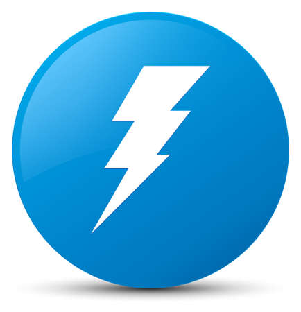 Electricity icon isolated on cyan blue round button abstract illustration