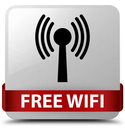 Wifi gratuit (réseau WLAN) isolé sur un bouton carré blanc avec ruban rouge en illustration abstraite moyenne Banque d'images - 89544424