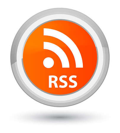 RSS isolated on prime orange round button abstract illustration Stock Photo