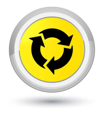 Refresh icon isolated on prime yellow round button abstract illustration