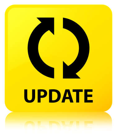 Update isolated on yellow square button reflected abstract illustration