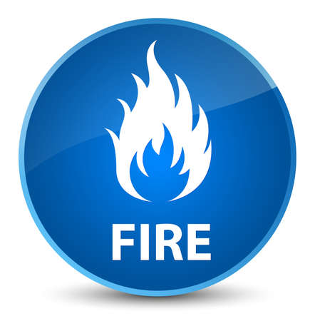 Fire isolated on elegant blue round button abstract illustration Stock Photo