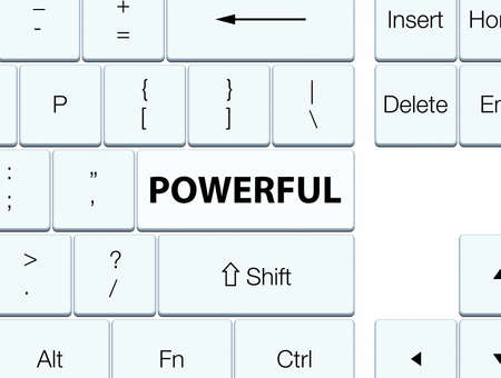 Powerful isolated on white keyboard button abstract illustration