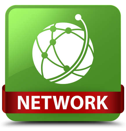 Network (global network icon) isolated on soft green square button with red ribbon in middle abstract illustration