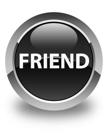 Friend isolated on glossy black round button abstract illustration